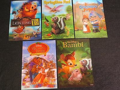 Lot 5 DISNEY CLUB EXCLUSIVE LENTICULAR 3D CARDS Beauty & Beast LION KING BAMBI +