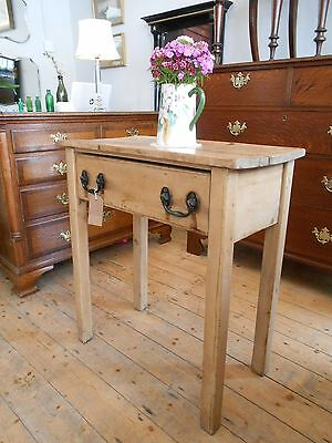 Rustic Victorian Pine Farmhouse Kitchen Side Table with Drawer