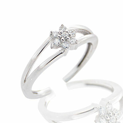 Cubic Zirconia CZ Adjustable Flower Design Toe Toe Ring In 925 Sterling Silver