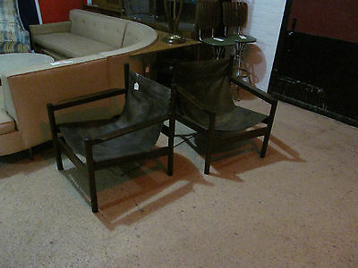 Vintage RARE Mid-Century Michel Arnoult Pair of Leather Sling Chairs
