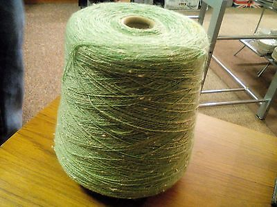 CONE 670 GRAMS apple green 1 PLY cotton mix  FOR MACHINE KNITTING, CRAFT WORK