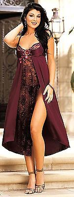Wine Red Satin Nightgown Ladies Lingerie Dress Long Babydoll Lace Detail UK 8/10