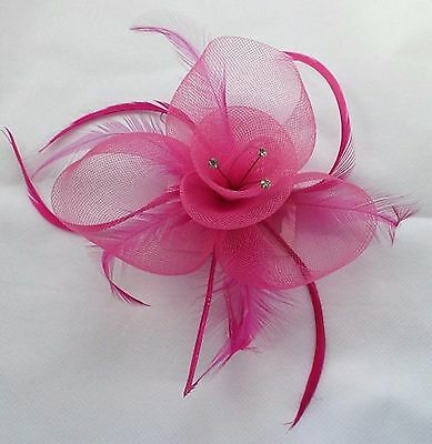 Hot Pink Fuschia Flower Feather Fascinator With Brooch And Clip On Attachments