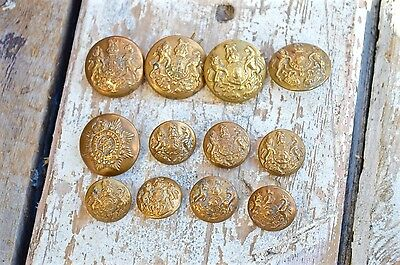 Vintage Gold Brass Buttons Firmin & Sons Army General Service Greatcoat
