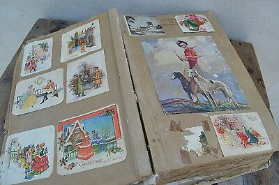 Vintage Scrapbook Scrap Book Personal Christmas Greeting Cards Album 30s 40s