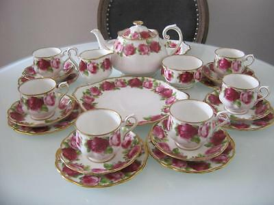 Rare Vintage Royal Albert Old Country Roses 23 Piece Teaset