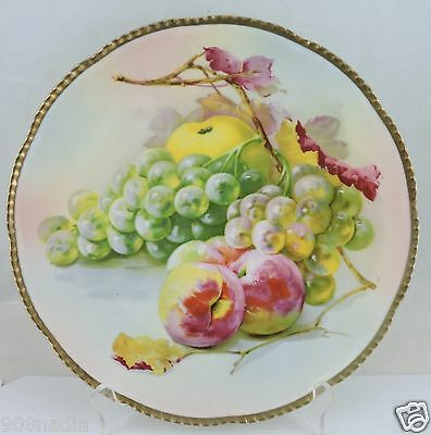 Antique Cake/cabinet Plate Grape,fruit,leaf Gold Scalloped Rims