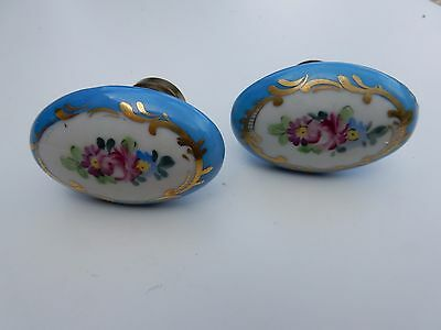 a stunning pair OF OLD ceramic and brass DOOR KNOBS  BARN  FIND     boudoir chic