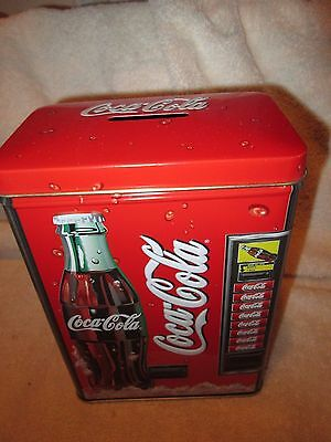 """Coca Cola Tin Bank Vending Machine 2 pieces NO DATE never used 6 1/2"""" tall"""