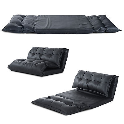 Black Modern PU Leather Effect Lounger Sofa Bed Floor Sleeper Seat Chaises