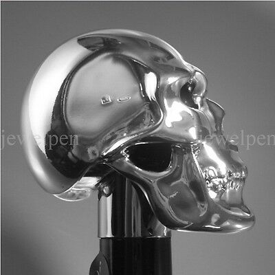 Scull - Walking Stick Cane Hallmarked 925 Silver Sterling Silber Spazierstock