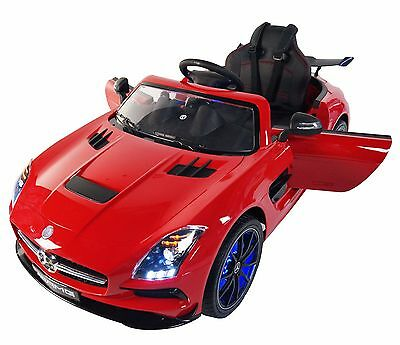 Pair of Mercedes 12v Electric Ride On Kids Toy Cars RC Silver or White + Red