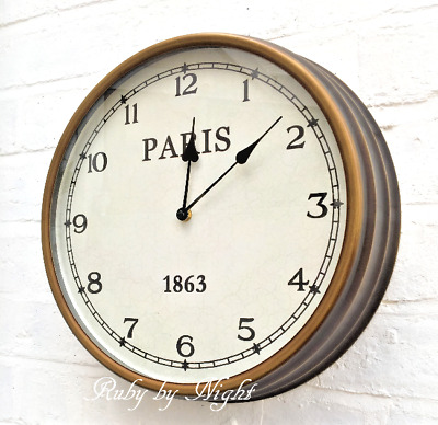 Large Bronze Metal Wall Clock Distressed Antique French Vintage Style Paris