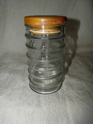 Vintage Beehive Glass Jar Container with Wood Lid