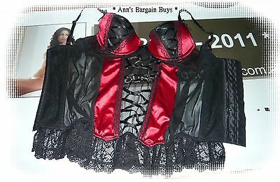 Hanky Panky-Womens Size 10/BC Corset-PushUp-Bustier-Satin & Lace-Red/Black-NWOT