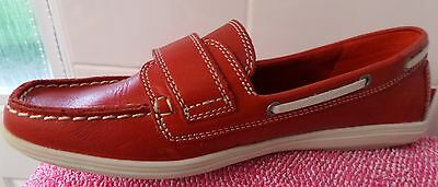 Ladies Footglove Red Leather Loafers/shoes -Uk 5.5
