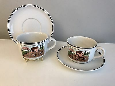 Set of 2 Villeroy & Boch NAIF Pattern Oversized Cups and Saucers