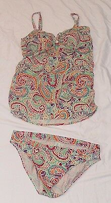 Motherhood Maternity Two Piece Tankini Swimsuit Multi Colored Paisley Size Large