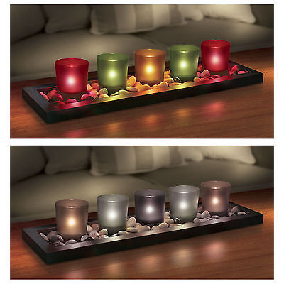 5 Piece Votives Candle Set In Jewel OR Earth Tone Designs Tealight Holders NEW