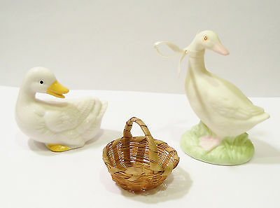 Vintage Bone China Ceramic Bisque White Duck Goose Miniature Easter Figures