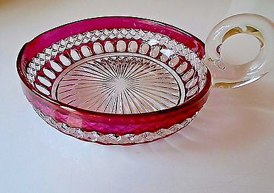 Vtg WESTMORELAND WAKEFIELD HEART RUBY FLASH Nappy Candy HANDLE BOWL DISH