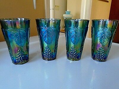 Lot Of Four  Imperial Carnival Glass Tumblers Glasses Grape Pattern  Blue