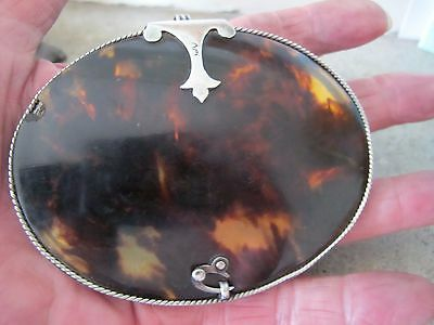 Unusual Antique sterling silver and faux tortoiseshell pendant with mirror