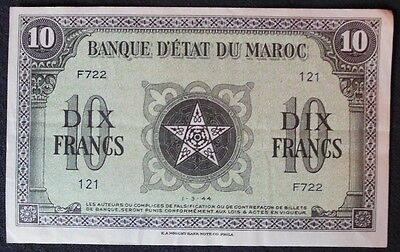 Morocco 10 Francs P25 1944 France 5 Pointed Star Unc Rare Currency Money Note