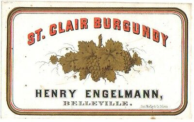 Antique 1800's Henry Engelmann St. Clair Burgundy Wine Label - Belleville, Ill.