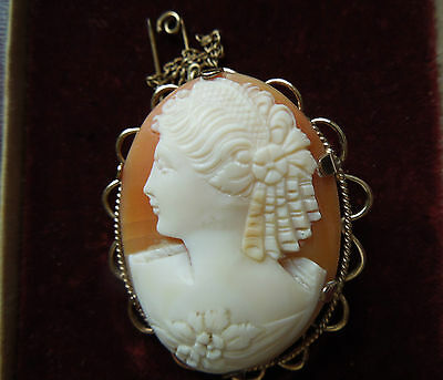 Shell Cameo Brooch/Pin in Rolled Gold Mount, with Safety Chain, Clewco, 1950s
