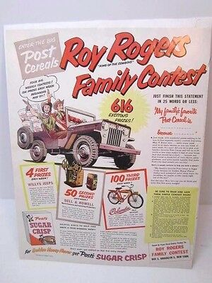 Vintage 1954 Post Cereal Roy Rogers Family Contest Look Magazine Advertisement