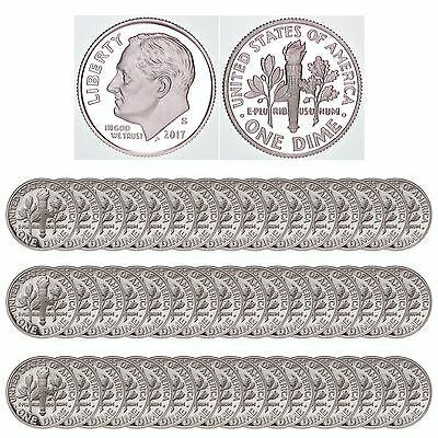 2017 S Roosevelt Dime Roll Gem Deep Cameo 90% Silver Proof 50 US Coins