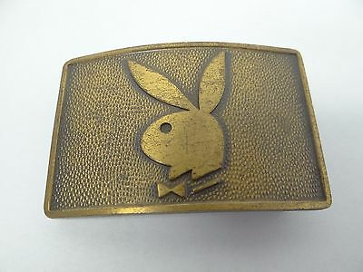 Vintage Brass Metal Playboy Bunny Magazine Belt Buckle Advertising Used Old