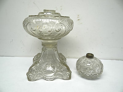 Lot of Two Antique Old Used Clear Glass Lighting Oil Lamp Founts Bodies Parts