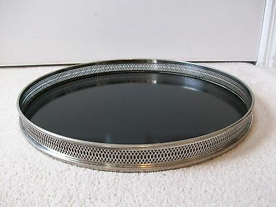 """Vintage 16"""" Round  Formica Serving Tray~Filigree Silver Plate Trim~Italy"""