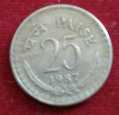 indian coins pachis paisa  yaer by 1987