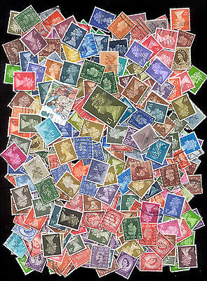 280 Stamps: Great Britain Machin Queen Elizabeth British Used