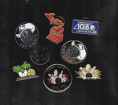 Group of 8 - Bowling related pinbacks various sizes, tournaments, USA & Canada