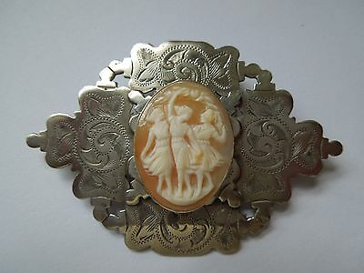 Victorian Chased White Metal Brooch set with Shell Cameo of 3 Graces