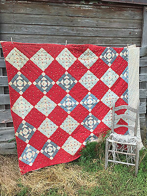 Antique 1920's Heavy Quilt Cotton filled Patchwork Feedsack 80x68 Red and Blue