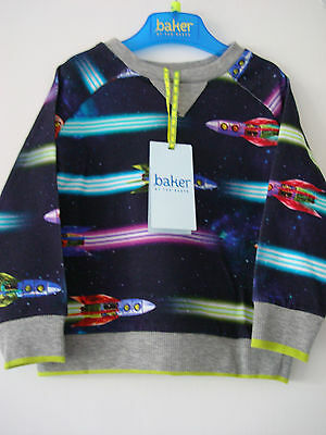 Ted Baker Baby Boys Long Sleeved Rocket Ship Design Top Jumper 12 - 18 Months