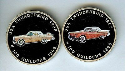 1956 & 1957 Ford Thunderbird On Suriname 1996 100 Guilders 2 Proof Coin Set