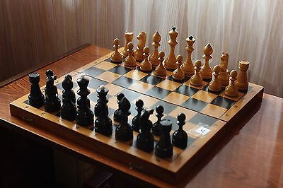 "15,7"" Large Vintage Soviet Chess USSR 1973 Wooden Chess - Full Set!"