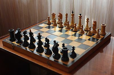 "15,7"" Vintage Soviet Chess USSR 1970s Wooden Chess - Full Set!"