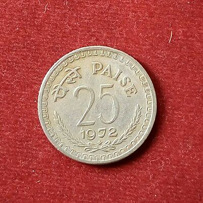indian coins 25 paisa  year by 1972