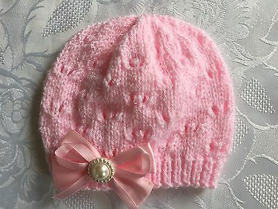 Hand Knitted Baby Girls Pink Shimmer  Wool  Beanie Hat  0 - 3 months  'NEW'