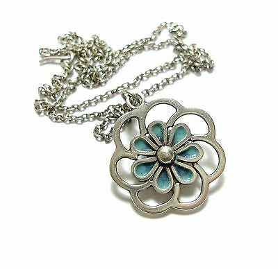 Beautiful Vintage Silver & Enamel Floral Necklace Possibly By Norman Grant (B6)