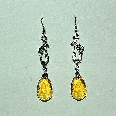 Art Nouveau Style Yellow Faceted Glass Crystal Silver Plated Earrings Hg