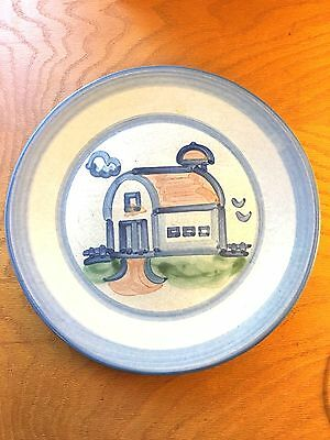 M A Hadley Pottery Country Scene with Barn Dinner Plate