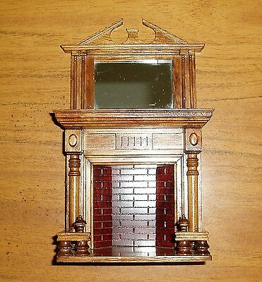 Victorian Style Wooden Fireplace/Surround 12th scale - Over Mantel with Mirror